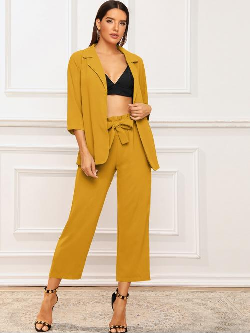 Elegant Plain Regular Fit Notched Three Quarter Length Sleeve Yellow Solid Notched Neck Blazer With Paperbag Waist Belted Pants with Belt