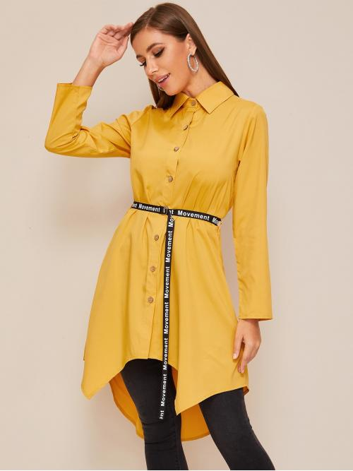 Casual Plain Tunic Regular Fit Collar Long Sleeve Regular Sleeve Placket Yellow Longline Length Single Breasted Asymmetrical Hem Belted Blouse with Belt