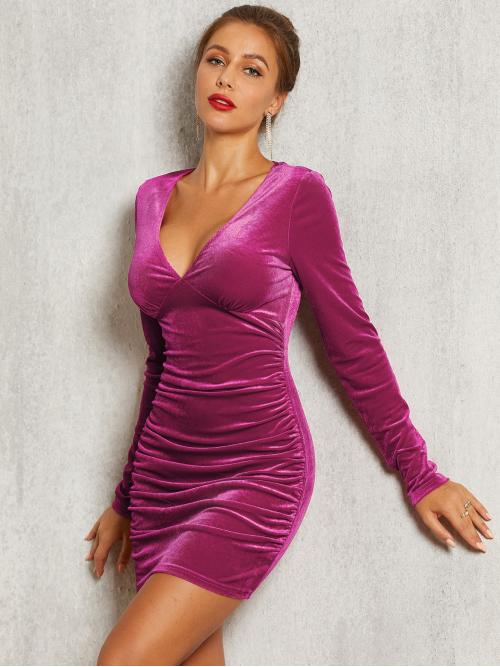 Glamorous and Sexy Bodycon Plain Pencil Slim Fit Deep V Neck Long Sleeve Regular Sleeve Natural Pink and Bright Mini Length SBetro Plunge Neck Ruched Bustier Velvet Bodycon Dress