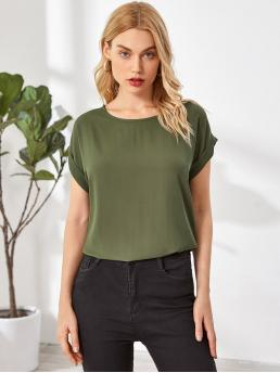 Short Sleeve Top Polyester Plain Rolled Cuff Dolman Sleeve Solid Top Fashion