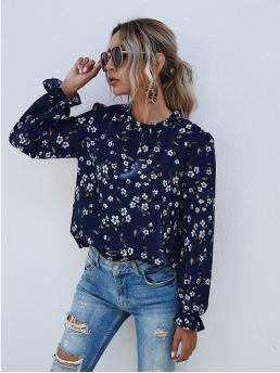 Beautiful Long Sleeve Top Frill Polyester Neck Floral Print Blouse