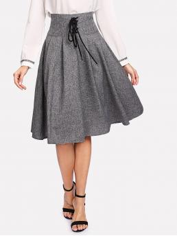Grey High Waist Lace up Flared Grommet Waist Boxed Pleated Affordable