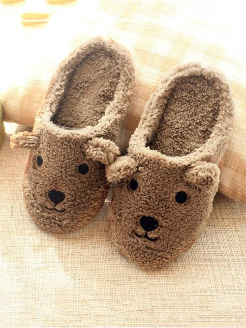 Comfort Round Toe Cartoon Brown Bear Pattern Fluffy Slippers