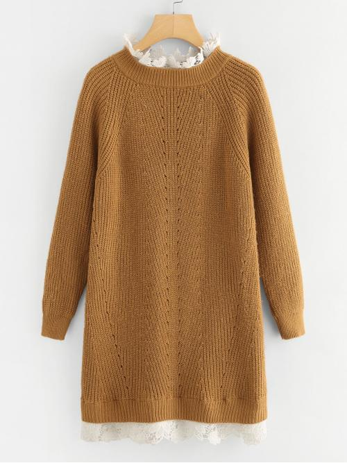 Casual Straight Stand Collar Long Sleeve Brown Short Length Floral Lace Insert Eyelet Sweater Dress