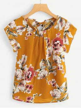 Casual Floral Top Regular Fit Round Neck Cap Sleeve Yellow Regular Length Knot Back Floral Print Blouse