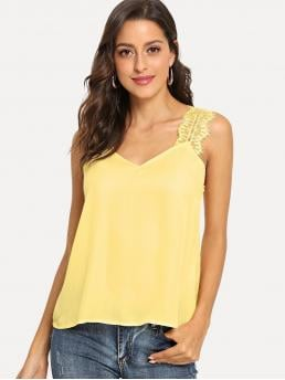 Casual Tank Plain Regular Fit Straps and V neck Yellow Regular Length V-Neck Lace Strap Top