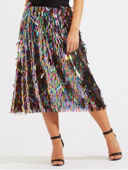 Multicolor Natural Waist Button a Line Elastic Waist Sequin Fringe Discount