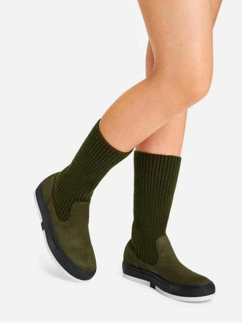 Polyester Green Stretch Boots Ripped Knitted Shaft Flat Boots Trending now