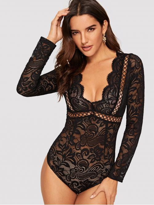 Sexy Plain Skinny Deep V Neck Long Sleeve High Waist Black Plunging Neck Cutout Knot Back Lace Bodysuit