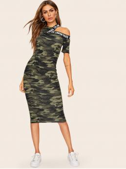 Sporty Bodycon Letter and Camo Pencil Slim Fit Stand Collar Short Sleeve Regular Sleeve Natural Multicolor Midi Length Asymmetrical Shoulder Letter Tape Camo Dress