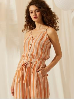 Casual Cami Striped Regular Fit Spaghetti Strap and V neck Orange Regular Length SBetro Button Front Striped Cami Top