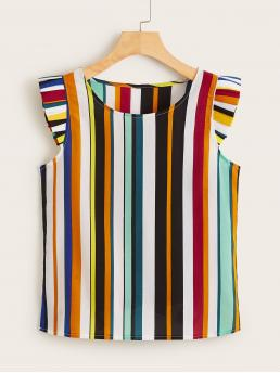 Casual Striped Top Regular Fit Round Neck Cap Sleeve Pullovers Multicolor Regular Length Frill Trim Striped Print Blouse