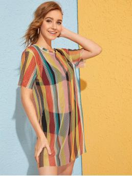 Sexy Tunic Striped Straight Loose Round Neck Short Sleeve Natural Multicolor Short Length Colourful Stripe Fishnet Sheer Dress