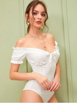 Sexy Plain Skinny Off the Shoulder Short Sleeve Flounce Sleeve High Waist White Lettuce Frill Tie Neck Off Shoulder Bodysuit