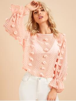Romantic Plain Top Regular Fit Round Neck Long Sleeve Pullovers Pink and Pastel Regular Length Flounce Sleeve Keyhole Back Sheer Textured Top Without Bra