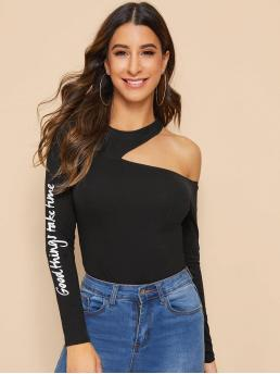 Sexy Slogan Slim Fit Asymmetrical Neck Long Sleeve Pullovers Black Regular Length Asymmetrical Shoulder Slogan Graphic Fitted Top