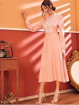 Elegant A Line Flared Regular Fit Stand Collar Long Sleeve High Waist Pink Long Length Lace Panel Button Front Fit And Flare Dress