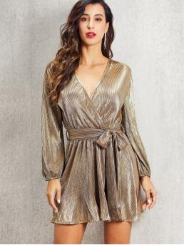 Glamorous A Line Plain Wrap Regular Fit V neck Long Sleeve Bishop Sleeve High Waist Gold Short Length SBetro Self Belted Wrap Pleated Metallic Dress with Belt