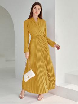 Cheap Mustard Yellow Plain Pleated V Neck Solid Surplice Front Hem Dress