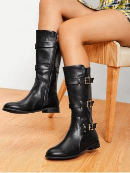 Other Round Toe Plain Side zipper Black Low Heel Chunky Buckle Decorated Side Zipper PU Boots
