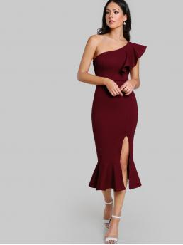 Glamorous Bodycon Plain Mermaid Slim Fit One Shoulder Cap Sleeve Butterfly Sleeve High Waist Burgundy Long Length One Shoulder Slit Pep Hem Dress