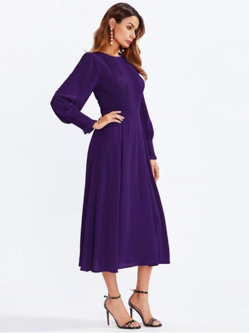 Affordable Purple Plain Frill Round Neck Frilled Fit & Flare Dress