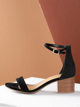Business Casual Ankle strap Black Mid Heel Chunky Open Toe Stacked Chunky Heel Thin Strap Sandal