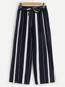 Pretty Navy Blue Natural Waist Belted Wide Leg Waist Tie Palazzo Pants