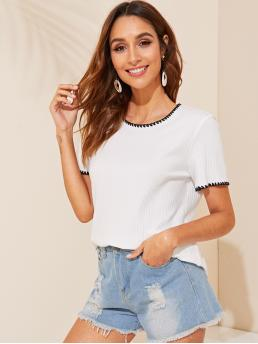 Casual Regular Fit Round Neck Short Sleeve Pullovers White Regular Length Embroidered Detail Rib-knit Tee