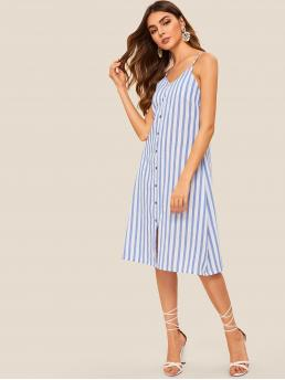 Casual Cami Striped Loose Spaghetti Strap Sleeveless Natural Blue Midi Length Striped Button Front Cami Dress
