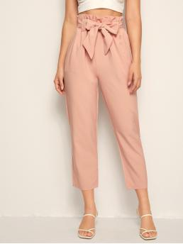 Casual Plain Tapered/Carrot Regular Elastic Waist High Waist Pink Cropped Length Solid Self Tie Paperbag Waist Pants with Belt