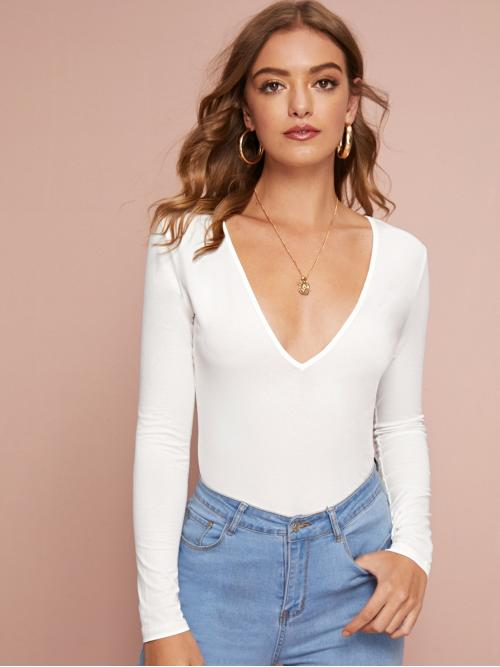 Sexy Plain Slim Fit V neck Long Sleeve Regular Sleeve Pullovers White Regular Length Plunging Neck Solid Top