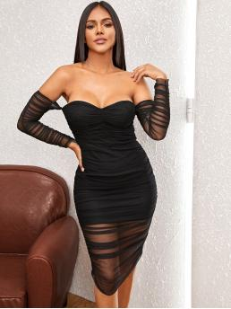 Sexy Bodycon Plain Pencil Slim Fit Off the Shoulder Long Sleeve Regular Sleeve High Waist Black Midi Length Off Shoulder Ruched Mesh Bodycon Dress with Lining