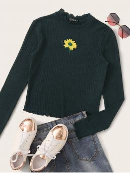Cute Floral Slim Fit Stand Collar Long Sleeve Pullovers Green Regular Length Sunflower Embroidered Lettuce Edge Rib-knit Tee