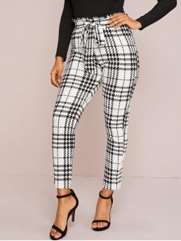 Casual Plaid Skinny Skinny Elastic Waist High Waist Black and White Cropped Length Paperbag Waist Belted Plaid Pants with Belt