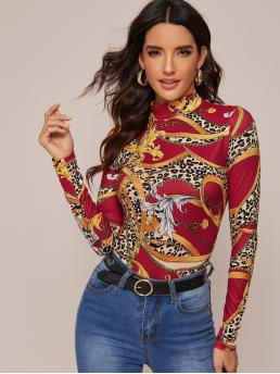 Elegant Leopard and Chain Print Slim Fit Stand Collar Long Sleeve Regular Sleeve Pullovers Multicolor Regular Length Mock-neck Leopard and Chain Print Fitted Tee