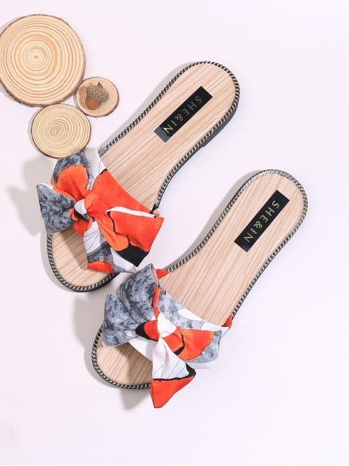 Slippers Open Toe Colorblock Red Low Heel Bow Decor Colorblock Sliders