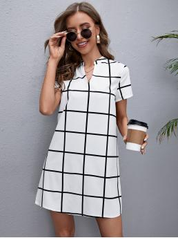 Shopping White Plaid Notched Short Neck Grid Dress
