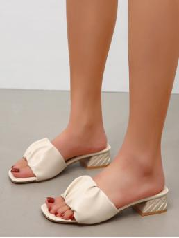 Beige Mules Mid Heel Chunky Ruched Block Heeled Mule Sandals Cheap