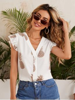 Cap Sleeve Shirt Button Front Polyester Armhole Pineapple Print Blouse Trending now