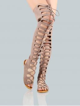 Club Peep Toe Coffee Lace Up Gladiator Flat Thigh Sandals LIGHT TAUPE