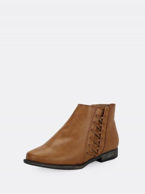 Cheap Velvet Brown a Line Lace up Zipper Side Lace Accent Flat Ankle Booties
