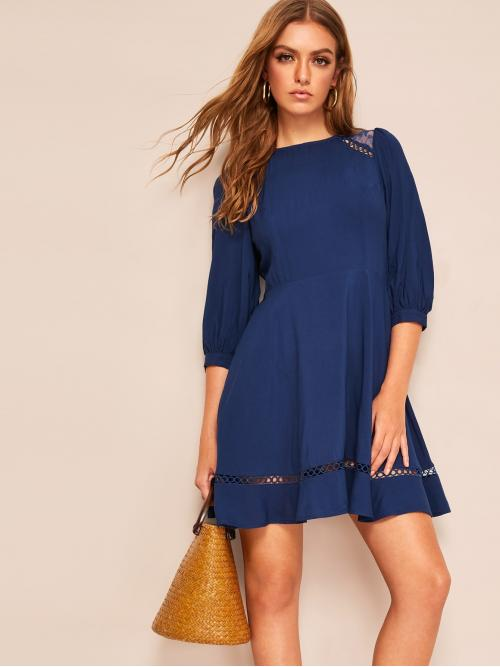 Casual Plain Flared Loose Round Neck Three Quarter Length Sleeve Natural Navy Short Length Lace Insert Bishop Sleeve Dress