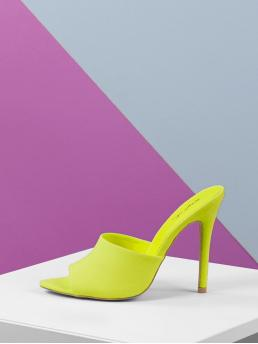 Glamorous Peep Toe Green and Neon and Bright High Heel Stiletto Open Pointed Toe Neon Slip On Stiletto Heel Mules