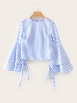 Boho Striped Top Regular Fit Round Neck Long Sleeve Pullovers Blue Regular Length Flounce Sleeve Striped Blouse