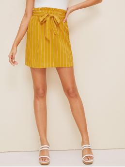 Casual Straight Striped High Waist Yellow Above Knee/Short Length Paperbag Waist Striped Straight Skirt with Belt