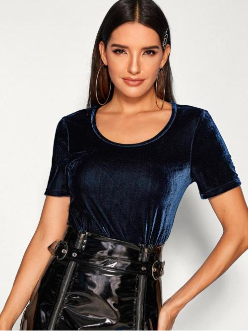Cheap Short Sleeve a Line Contrast Sequin Velvet Top