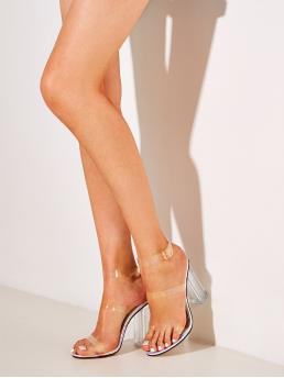Boho Open Toe Ankle strap White High Heel Chunky Clear Ankle Strap Chunky Heels