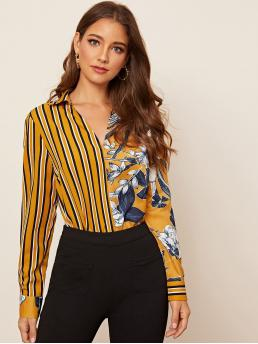 Elegant Striped and Floral Top Regular Fit Collar and V neck Long Sleeve Regular Sleeve Pullovers Yellow Regular Length V-collar Striped & Floral Print Spliced Blouse