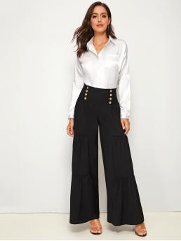 Elegant Plain Wide Leg Loose Elastic Waist High Waist Black Long Length Shirred Waist Ruffle Hem Wide Leg Pants